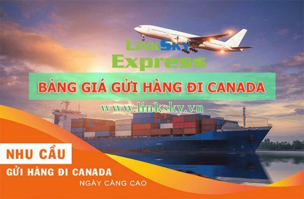 Bảng báo giá gửi hàng đi Canada